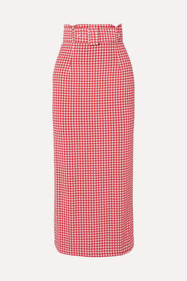 MONICA Bernadette BERNADETTE Belted Gingham Stretch-jersey Midi Skirt - Red