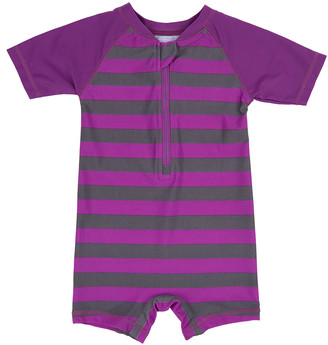 Leveret Girls' Rashguards Purple/Grey - Purple & Gray Stripe Zip-Front Raglan One-Piece Rashguard - Infant