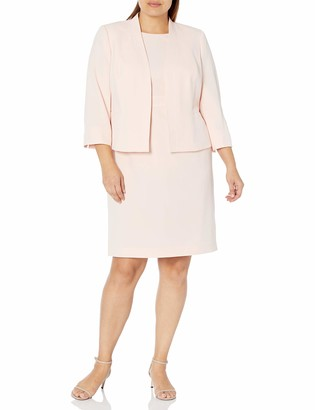 Le Suit LeSuit Women's Plus Size Open Front Jacket with Sleeveless FIT and Flare Dress Stretch Crepe Suit