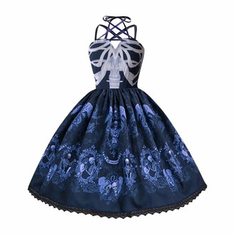 Gofodn Cocktail Dresses for Women UK Plus Size Ladies Clothes Vintage Skull Print Punk Style Strap Hepburn Big Swing Party Dress Purple
