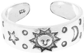 Aeravida Handmade Sun Moon and Star Sterling Silver Toe Ring or Pinky Ring