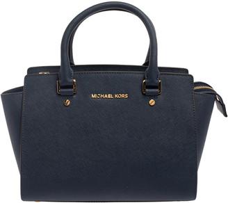 Michael Kors Michael Navy Blue Leather Medium Selma Satchel