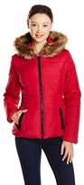 Celebrity Pink Juniors' Short Puffer Jacket with Faur Fur Trim Hood
