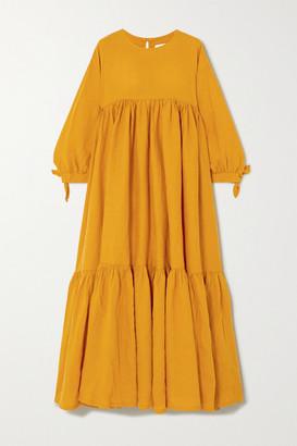 L.F. Markey Kendrick Tiered Linen Midi Dress - Yellow