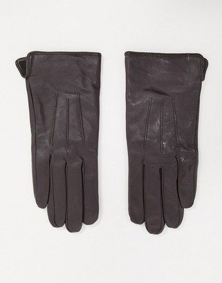 Barneys New York real leather gloves with touch screen compatibility in brown