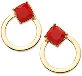 GUESS Gold-Tone Stone and Circle Front and Back Earrings