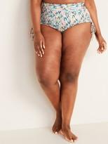 Old Navy High-Waisted Printed Secret-Slim Plus-Size Side-Tie Swim Shorts