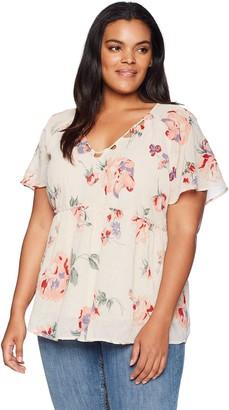 Lucky Brand Women's Size Plus Floral Flutter TOP