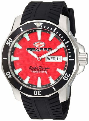Seapro Men's Scuba Dragon Diver Limited Edition 1000 Meters Quartz Stainless Steel Strap Silver 24 Casual Watch (Model: SP8317S)