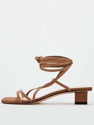 Very Belissa Low Block Square Strappy Sandals - Tan