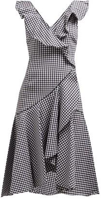 Jonathan Simkhai Ruffled Gingham Cotton-blend Dress - Womens - Black White