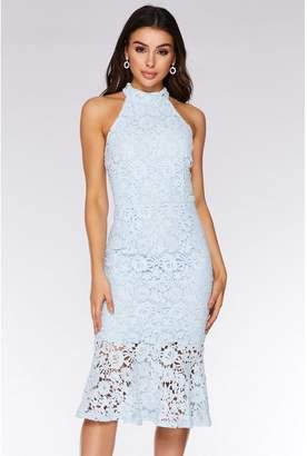 Quiz Pale Blue Crochet High Neck Midi Dress