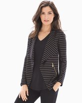 Soma Intimates French Terry Zipper Detail Jacket Glitz Stripe Black