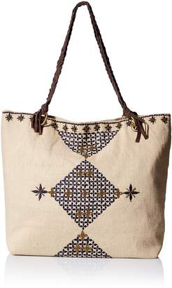 Gottex Women's Acapulco Embroidered Cotton Jute Bag with Braided Leather Handles