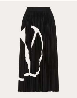 Valentino Pleated Jersey Skirt Vlogo