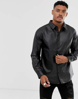 Another Influence PU faux leather long sleeve shirt-Black