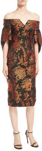 Zac Posen Off-the-Shoulder Floral-Jacquard Sheath Cocktail Dress
