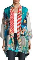 Johnny Was Mixed-Print Habutai Kimono Jacket, Plus Size