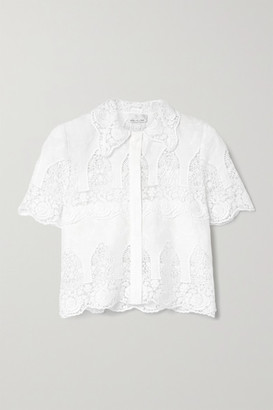 Miguelina Darlene Crochet-trimmed Embroidered Linen Shirt - White