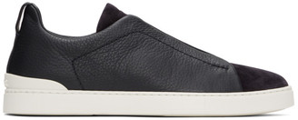 Ermenegildo Zegna Navy Triple Stitch Sneakers