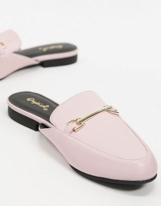 Qupid flat trim loafer mules in pink