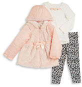 Nannette Girls 2-6x Faux Fur Jacket, Tee and Leggings Set