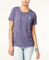 Disney Juniors' Lace-Up Stitch Graphic T-Shirt
