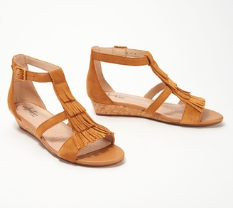Clarks Collection Suede Fringe Wedges - Abigail Sun