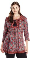 Lucky Brand Women's Plus-Size Embroidered Top