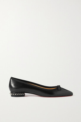 Christian Louboutin Hall Spiked Glossed Lizard-effect Leather Point-toe Flats - Black
