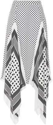 Altuzarra Asymmetric Polka-dot Silk Crepe De Chine Midi Skirt