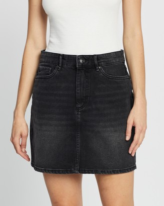 Only Women's Black Cropped tops - A Shape Denim Skirt - Size 34 at The Iconic