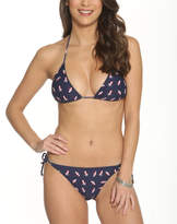 Betty's Beach Bungalow Women's Bikini Bottoms Navy - Navy & Red Beach Scene Triangle Bikini Top & Side-Tie Bottoms - Women