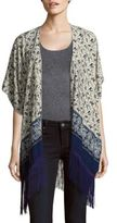 Printed Fringe-Trim Cape