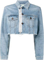 Off-White cropped zip denim jacket