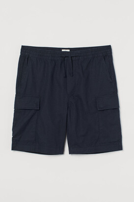 H&M Linen-blend Utility Shorts - Blue