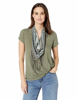 One World ONEWORLD Women's Short Sleeve Stripe Knot Top with Scarf Explorer-Soft sage Large