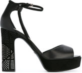 Christian Dior high heeled sandals with silver tone heel embellishment