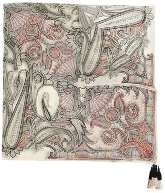Etro paisley print tassel scarf