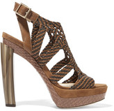 Jimmy Choo Woven Leather, Suede And Elaphe Sandals