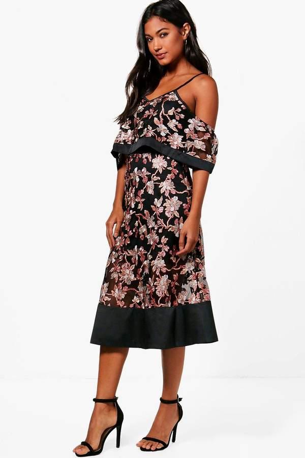boohoo Boutique Floral Organza Frill Top Midi Dress