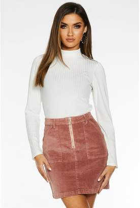 Quiz Cream Knit Ribbed Turtle Neck Top