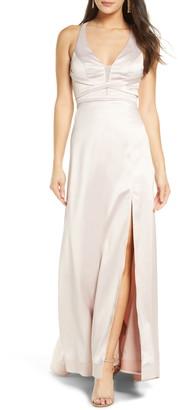 Sequin Hearts Crisscross Bodice Satin Gown
