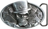 Landisun Handmade Casino Poker Skull Wearing A Hat Belt Buckle black red