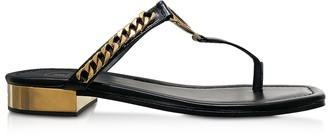 Balmain Black Leather T-Bar Flat Sandals