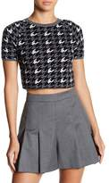 Alice + Olivia Houndstooth Crop Wool Top