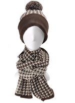 ZLYC Women's Fashion Pattern Winter Worn Beanie Hat and Scarf Set