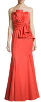 Badgley Mischka Strapless Sweetheart Cascade Ruffle Gown, Orange