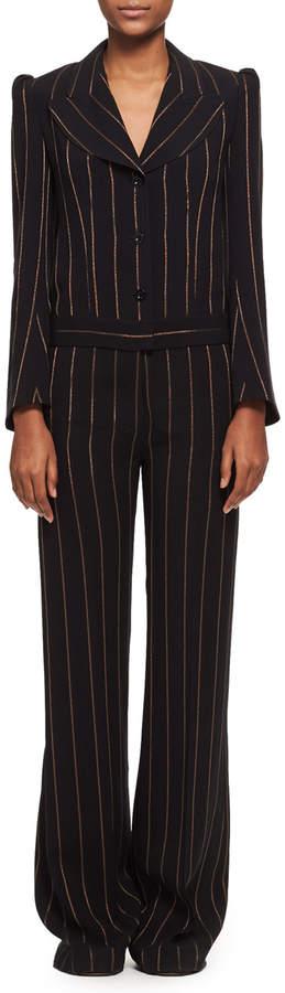 Chloé Metallic-Stripe Long-Sleeve Jacquard Jumpsuit, Black