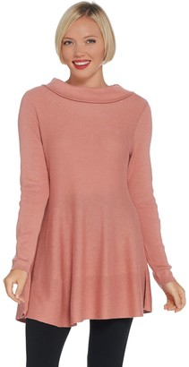 Denim & Co. Petite Marilyn Collar Long Sleeve Swing Hem Sweater